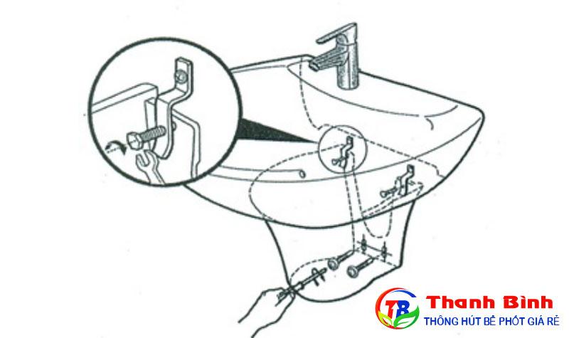 Lắp đặt phần chân của chậu rửa mặt treo tường, siết chặt ốc vít